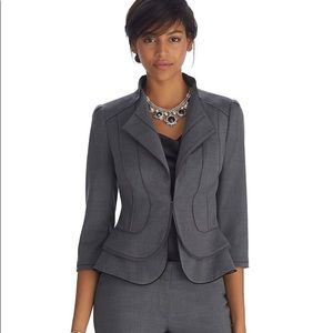 Whbm Gray luxe flare hem blazer jacket 8 nwot